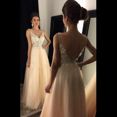 2018 Champagne Lace A-line Open-Back Long V-Neck Prom Dresses with Beadings BA4046_3