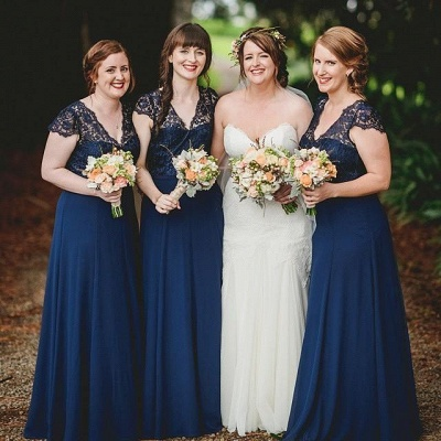Romance Lace Chiffon Navy Blue Long Bridesmaid Dresses_3