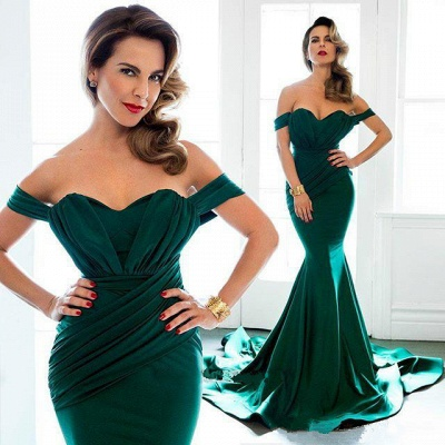 Long Mermaid Prom Dresses Off the Shoulder Ruched Ruffles Train Sexy Evening Gowns_3