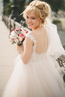 Appliques Gorgeous Tulle Floor-Length Princess Cap-Sleeve Lace Wedding Dresses_4