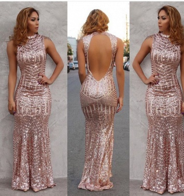 Sexy Mermaid Sequined Open Back Prom Dress Floor Length Evening Gowns_2