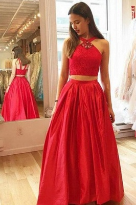Halter Glamorous Crystal A-Line Two-Pieces Red Prom Dresses_2