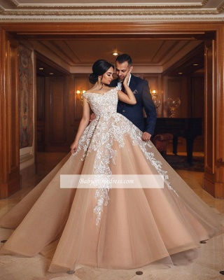 Gorgeous Champagne Off-the-shoulder Ball Gown Wedding Dresses_1