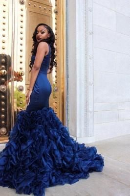 Fabulous Straps Mermaid Prom Dresses | Sleeveless Ruffles Skirt Evening Gowns_4