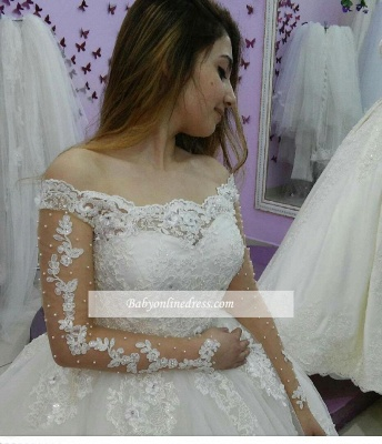 Ball-Gown Tulle Off-The-Shoulder Lace-Applique Long-Sleeves Pearls Wedding Dresses_3