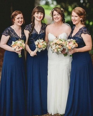 Romance Lace Chiffon Navy Blue Long Bridesmaid Dresses_2