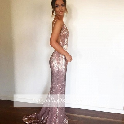 Sexy Shiny Backless Mermaid Deep-V-neck Pink Straps Evening Dress_3