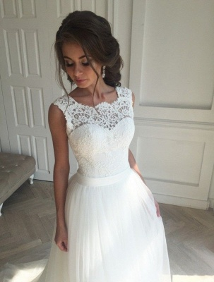 Simple Sleeveless Sash Lace Open-Back A-line Wedding Dresses_2