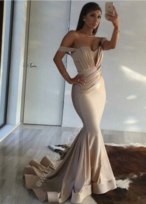 Long Mermaid Prom Dresses Off the Shoulder Ruched Ruffles Train Sexy Evening Gowns_1