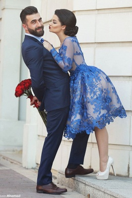 Royal Blue Short Homecoming Dresses Long Sleeves Lace Cocktail Dresses_3