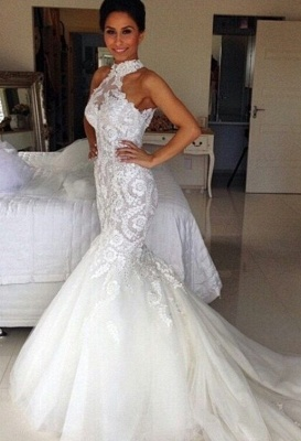 Sexy Mermaid Applique Bridal Gowns Sleeveless Long Tulle Halter Wedding Dresses_2