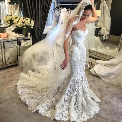 Elegant Lace Mermaid Wedding Dresses | Sweetheart Neck Sleeveless Bridal Gowns_3