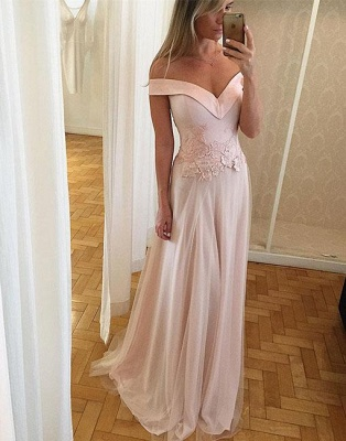 Off-the-shoulder A-line Sleeveless Prom Dresses Lace Tulle Layers Long Formal Dresses_2