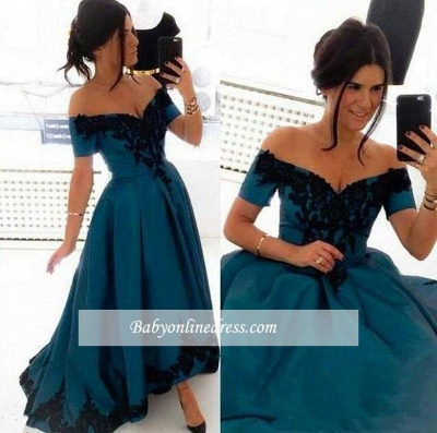 Elegant Appliques Off-the-Shoulder Evening Gowns 2018 Hi-Lo A-Line Prom Dress_1