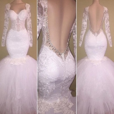 New White Backless Prom Dresses | Sexy Long Sleeves Mermaid Wedding Dresses_2