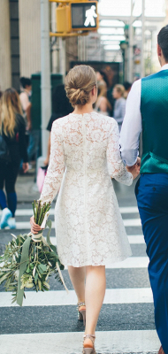 Jewel Short Unformal Lace Wedding Dresses with Long Sleeves_2