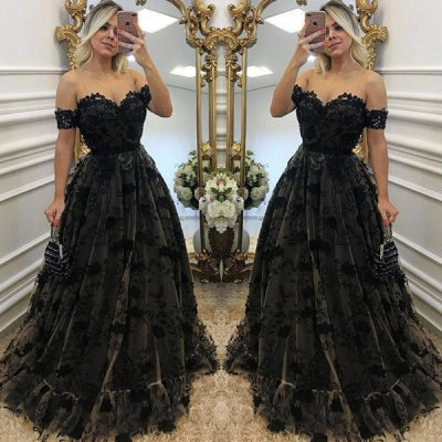 Sexy Black Lace Neck Applique Short Sleeves Long 2018 Formal Prom Dresses_3