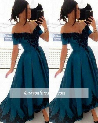 Elegant Appliques Off-the-Shoulder Evening Gowns 2018 Hi-Lo A-Line Prom Dress_3