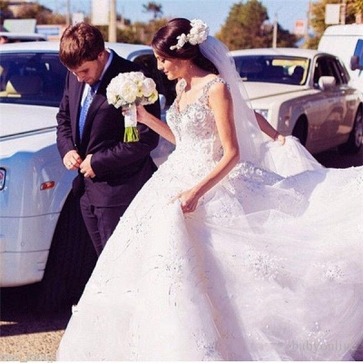 Straps Sparkly Crystals Beaded Puffy Luxury Ball Gown Wedding Dresses_4
