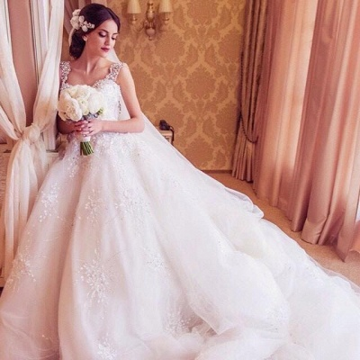 Straps Sparkly Crystals Beaded Puffy Luxury Ball Gown Wedding Dresses_3