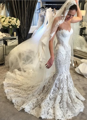 Elegant Lace Fit and Flare Wedding Dresses | Sweetheart Neck Sleeveless Bridal Gowns_1