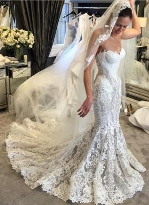 Elegant Lace Mermaid Wedding Dresses | Sweetheart Neck Sleeveless Bridal Gowns_1