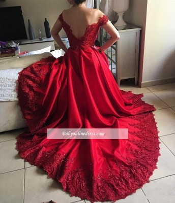 Red Lace Off-the-Shoulder Evening Gowns | Off-the-Shoulder Beading Prom Dresses_1