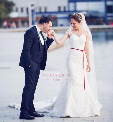 Elegant Off-the-Shoulder Sweetheart Lace-Appliques Mermaid Tull Wedding Dresses_3