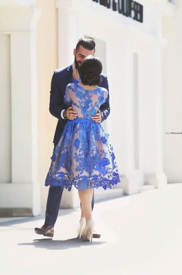 Royal Blue Short Homecoming Dresses Long Sleeves Lace Cocktail Dresses_4
