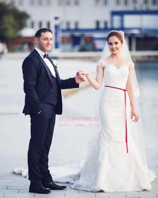 Elegant Off-the-Shoulder Sweetheart Lace-Appliques Mermaid Tull Wedding Dresses_4