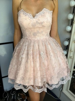 Sexy Pink Lace Homecoming Dresses | Sweetheart Sleeveless A-line Mini Cocktail Dresses_1