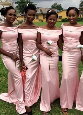 Simple Pink Mermaid Bridesmaid Dress | Off-the-Shoulder Maid of the Honor Dress_4