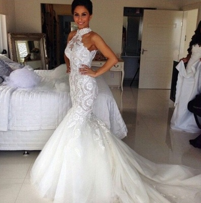 Sexy Mermaid Applique Bridal Gowns Sleeveless Long Tulle Halter Wedding Dresses_3