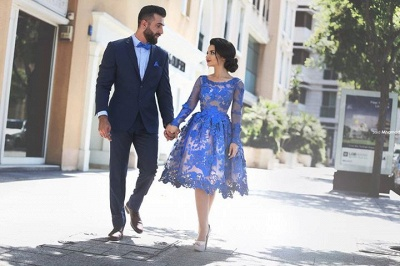 Royal Blue Short Homecoming Dresses Long Sleeves Lace Cocktail Dresses_5