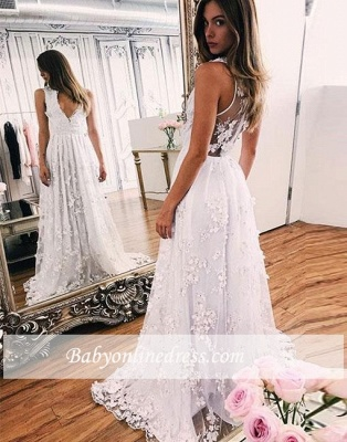 Lace Sweep-train White V-neck A-line Wedding Dress_1