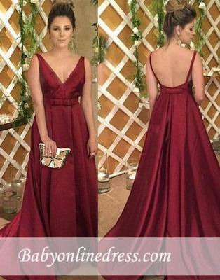 Satin Sleeveless Backless Burgundy V-Neck Evening Dress_1