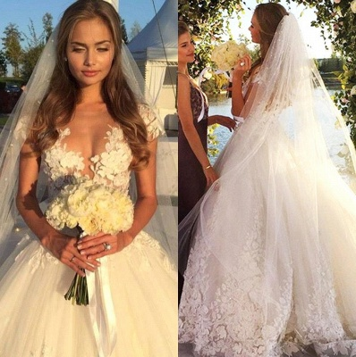 Sexy Tulle Appliques 2020 Wedding Dresses Short Sleeves Bridal Ball Gowns_1