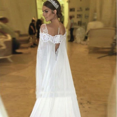 Chic Cape Mermaid Wedding Dresses   Long Sleeves Lace Beading Bridal Gowns_3