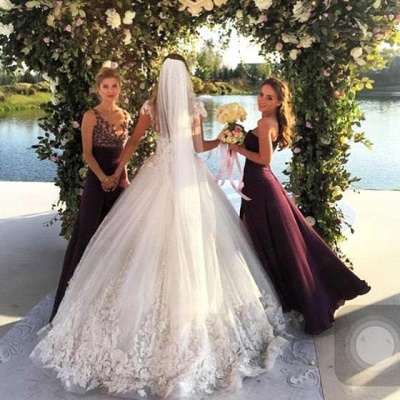 Sexy Tulle Appliques 2020 Wedding Dresses Short Sleeves Bridal Ball Gowns_4