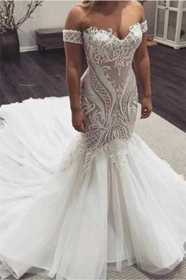 Off the Shoulder Sexy Lace Mermaid Sweetheart Wedding Dresses_1