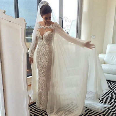 Chic Cape Mermaid Wedding Dresses   Long Sleeves Lace Beading Bridal Gowns_4