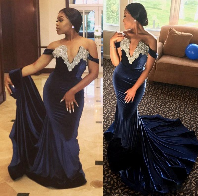 Sexy V Neck Crystal Mermaid Off Shoulder Beaded Velvet Prom Dresses_3