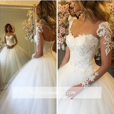 Long-Sleeves Lace-up Luxury Ball-Gown Lace Wedding Dresses_1