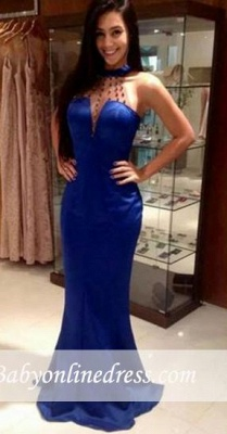 Blue Mermaid Open Back Prom Dresses Sleeveless High Neck Evening Gowns_3