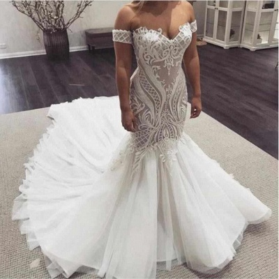 Off the Shoulder Sexy Lace Mermaid Sweetheart Wedding Dresses_2