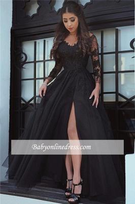 Long-Sleeve Black Slit Glamorous Lace Evening Dress_1