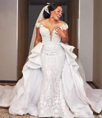 Elegant Off the Shoulder Lace Wedding Dresses With Detachable Train_2