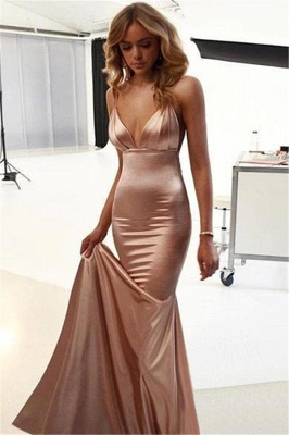 Floor Length Spaghetti Straps V-neck Silky Prom Dresses | Long Sexy Evening Dresses_3