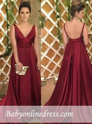 Satin Sleeveless Backless Burgundy V-Neck Evening Dress_3