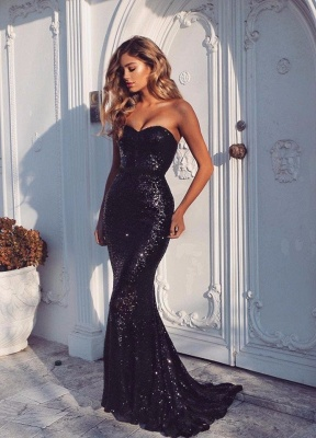Alluring Sweetheart Black Sheath Prom Dress Sweep-Train Sequined Evening Gowns_2